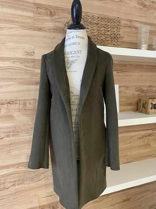 Veste style manteau en faux suède