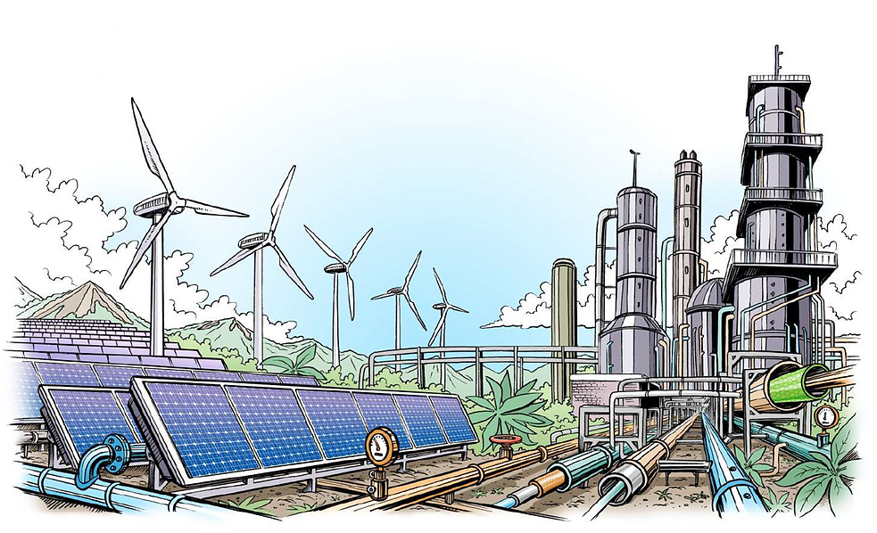 An alternative energy future, where renewable electricity powers the production of chemicals and fuels.