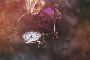 Roses, a pocket watch and an old key. Vi