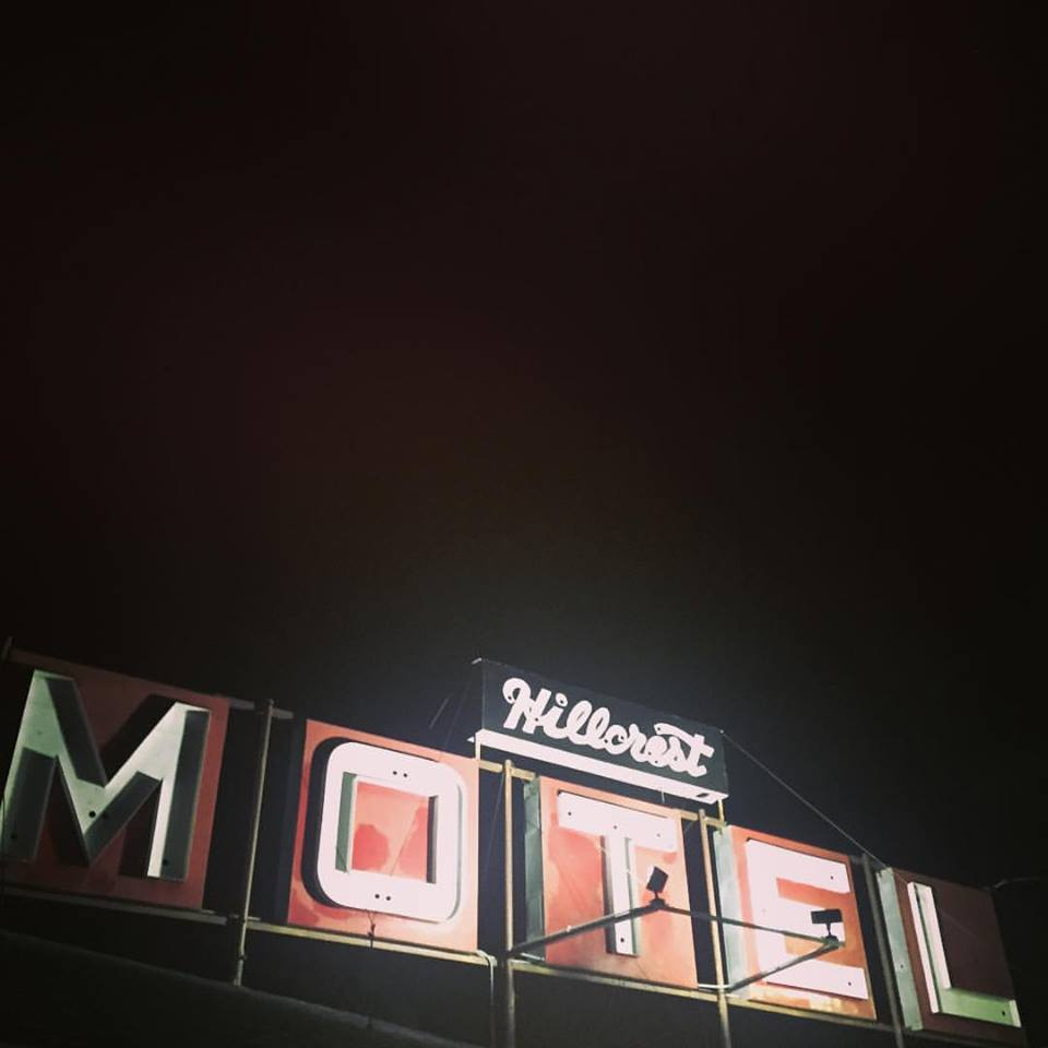 Wonderfully tarnished sign of the finest motel in Burke, SD.