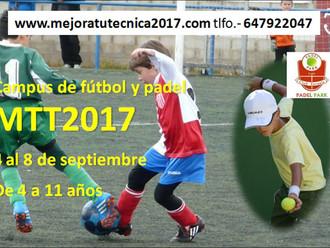 Del 4 al 8 de septiembre te esperamos. www.mejoratutecnica2017.com     Para los socios del club Átle