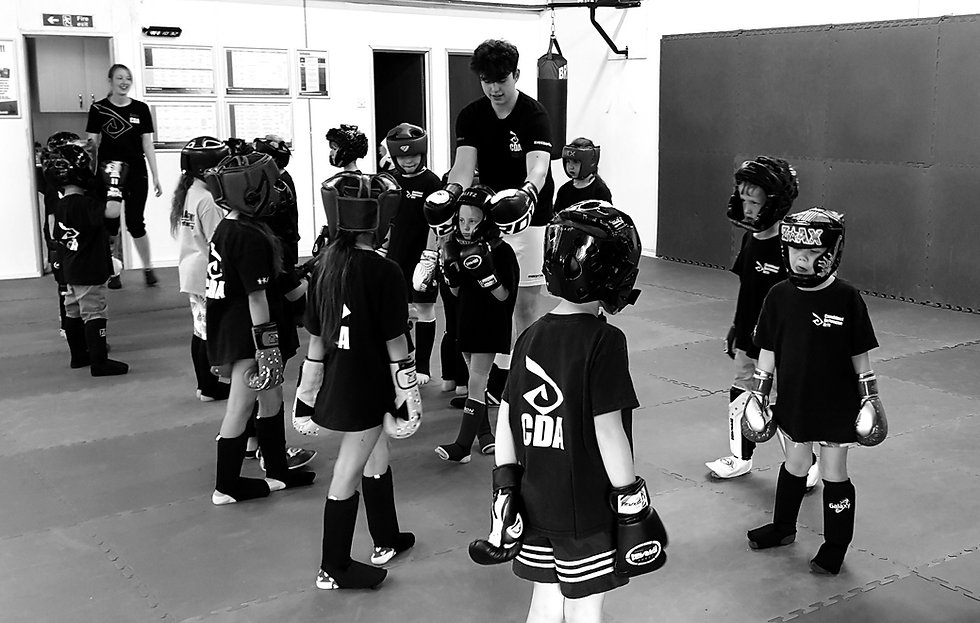 Children lined up at the start of their kickboxing session