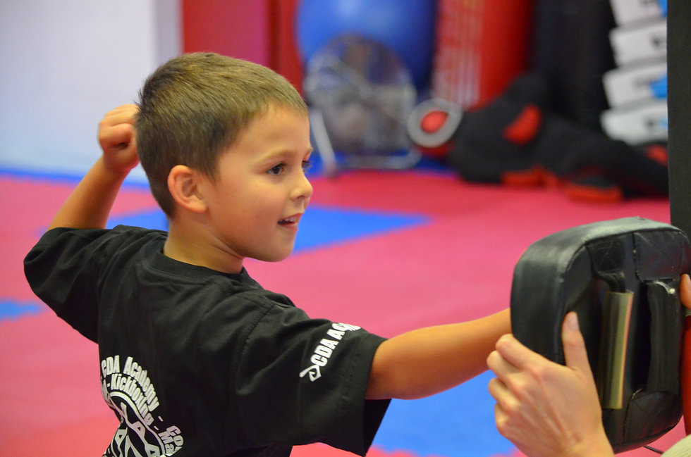 Ninja Skillz student hitting the pads in his martial arts class