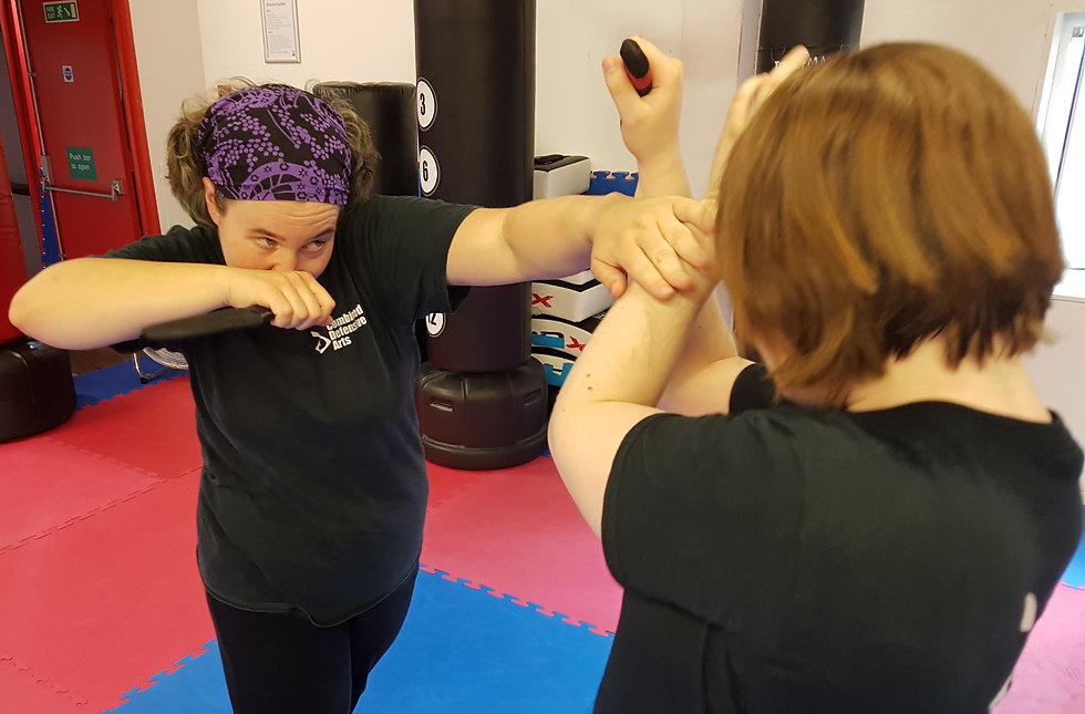 TWO WOMEN PRACTICING KNIFE DEFENCE