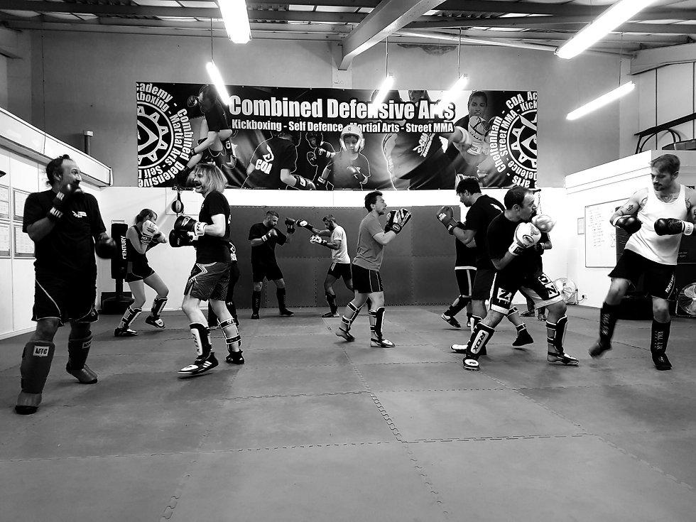 Kickboxing class in full flow at the CDA Academy in Cheltenham