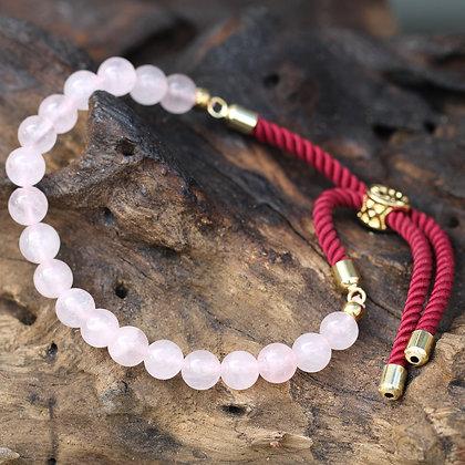 Bracelet  Quartz Rose plaqué or 18K - Cordon Bordeaux -