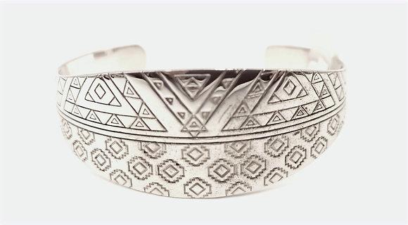 Bracelet argent rodhié gravé