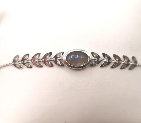 Bracelet argent rhodié et labradorite