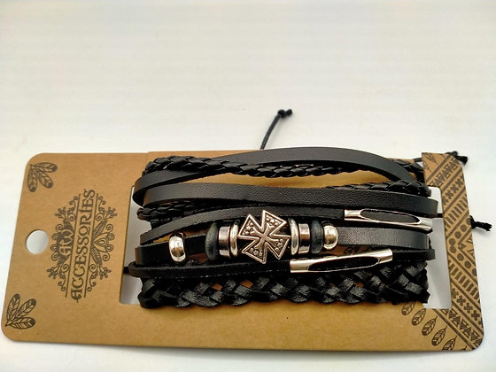 Set de 4 bracelets cuir réglables