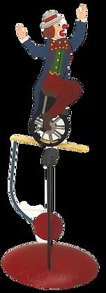 Figurine clown balancier en métal