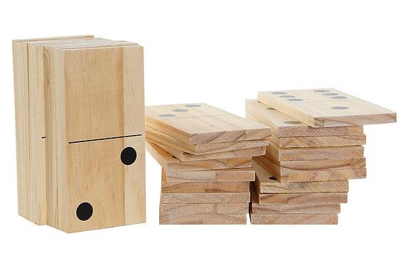 Dominos géants en bois de hêtre robustes, parfaits pour jouer à l'extérieur. Ave