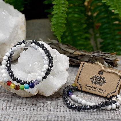 Bracelet chakra howlite blanche et hematite