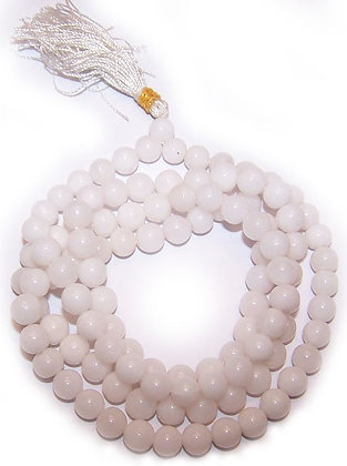 Mala tibétain quartz blanc