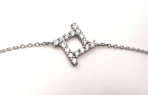 Bracelet argent rhodié et oxyde de zirconium