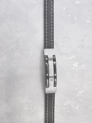 Bracelet cuir et acier réglable