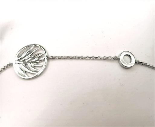 Bracelet argent rhodié et pierre de lune
