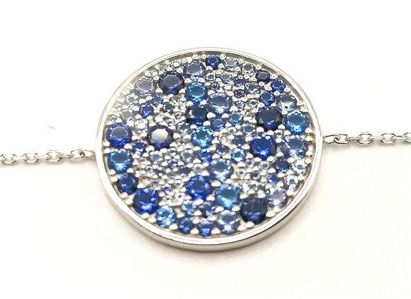 Bracelet argent rodhié et pierres bleues