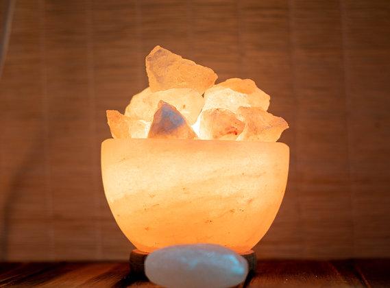Lampe Vasque et Morceaux en Sel de l'Himalaya