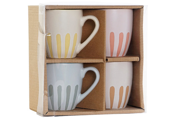 SET DE 4 MUGS en GRÈS 10X7X7,5 180 ML,