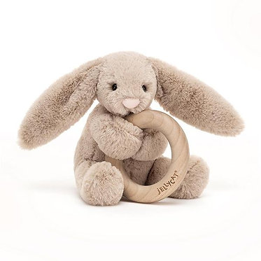 Bashful Bunny Wooden Ring Toy by Jellycat