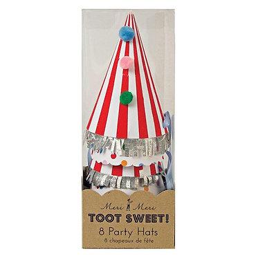 Stripe Pom Pom Party Hats by Meri Meri