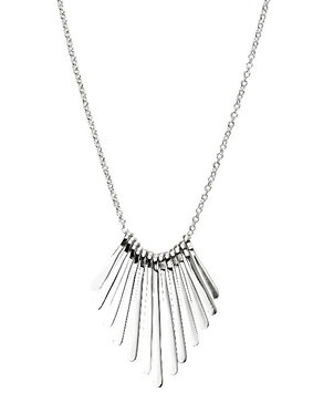 Graduated Bar Fan Silver Necklace