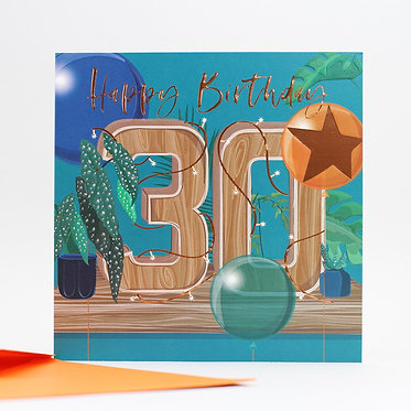 Belly Button Designs Blue Star 30th Card
