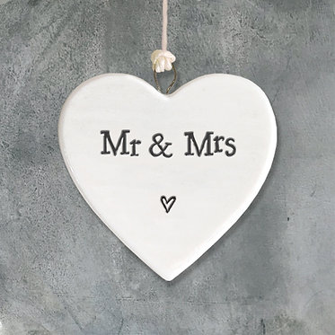 Mr and Mrs Small Hanging Heart