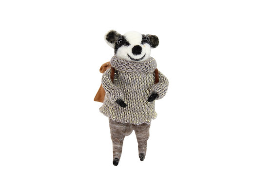 Wool Mix Badger in Coat Decoration