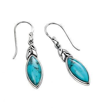Elements Silver Turquoise Leaf Shape Earrings