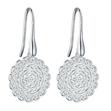 Filigree Drop Silver Earrings