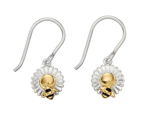 Silver Bee and Flower Earrings with Gold Plating