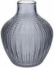Large Ribbed Grey Vase