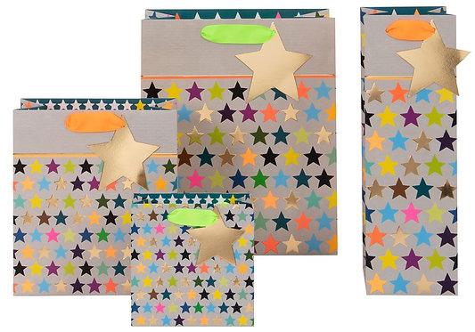 Multi Star on Grey Gift Bags