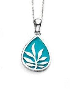 Blue Enamel Silver Pendant