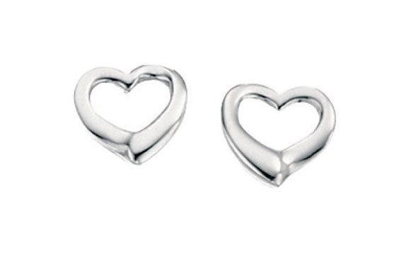 Small Open Heart Stud Earring
