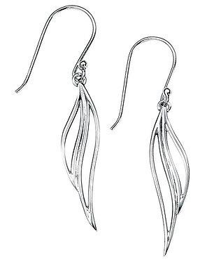 Silver Open Leaf Drop Earrings