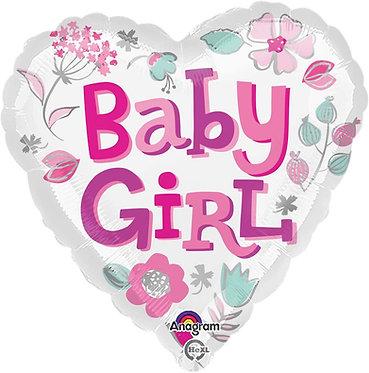 Baby Girl Heart Shaped Balloon