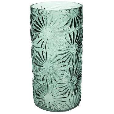 Embossed Daisy Glass Vase
