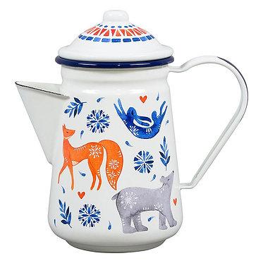 Folklore Enamel Tea or Coffee Pot
