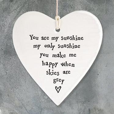 You Are My Sunshine Ceramic Heart