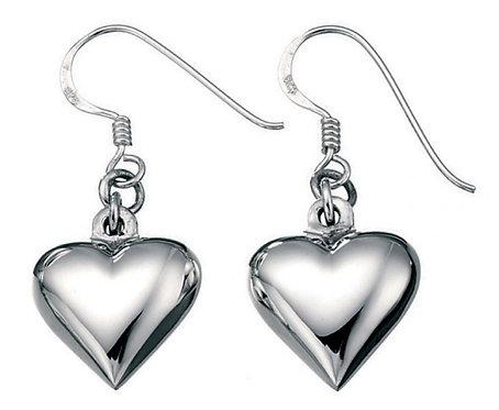 Small Puffed Heart Drop Earrings