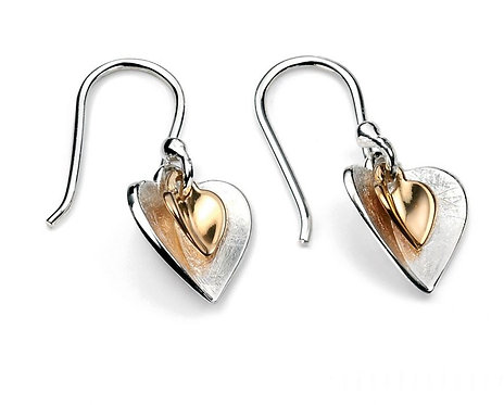 Silver Gold Plated Double Heart Earring