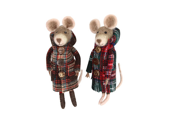 Wool Mix Mouse in Plaid Coat
