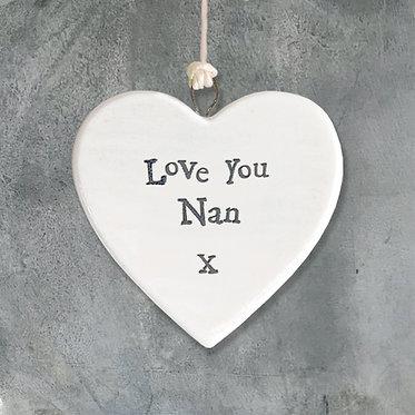 Love You Nan Mini Hanging Heart