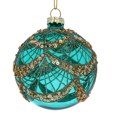 Turquoise Glass Bauble with Sequin Swags
