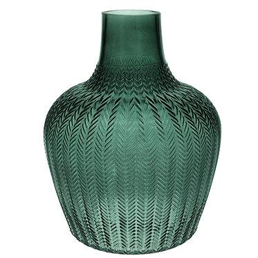 Large Ribbed Green Vase