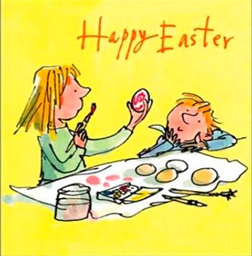 Boy and Girl Egg Painting Quentin Blake Card