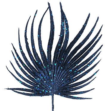 Blue Glitter Palm Stem Decoration
