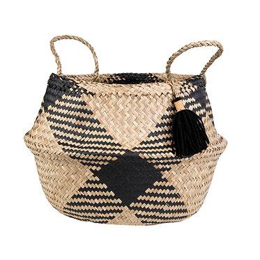 Black Tribal Basket with Tassle